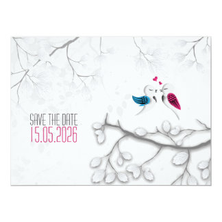 Love Birds on Magical White -Wedding Save the Date Card