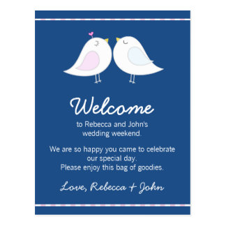 Love Birds on Navy Blue Wedding Welcome Card Postcard