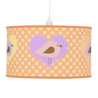 Love Birds on Orange Dots Pendant Lamp