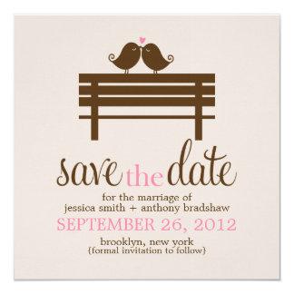 Love Birds on Park Bench Wedding Personalized Invitation