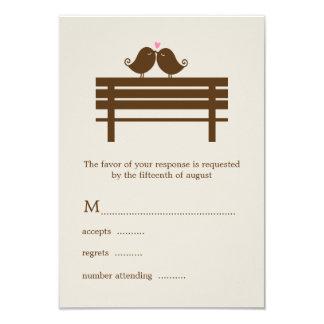 Love Birds on Park Bench Wedding 3.5x5 Paper Invitation Card