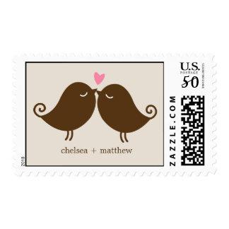 Love Birds on Park Bench Wedding Postage