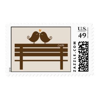 Love Birds on Park Bench Wedding Postage Stamp