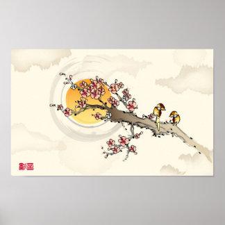 Love Birds on Peach Blossoms Print