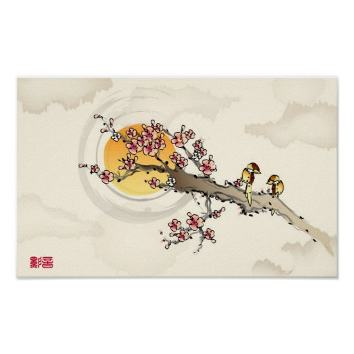 Love Birds on Peach Blossoms Poster