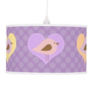 Love Birds on Purple Dots Pendant Lamp
