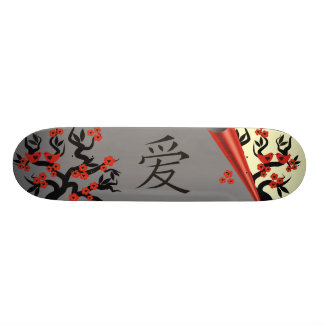 Love Birds On Sakura Tree And Chinese Love Symbol Skateboard
