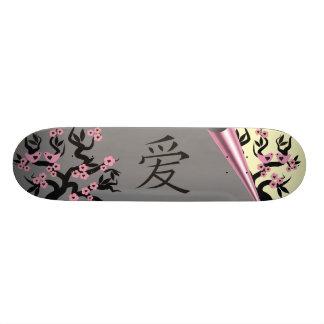Love Birds On Sakura Tree And Chinese Love Symbol Skate Board Deck