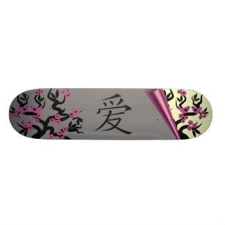 Love Birds On Sakura Tree And Chinese Love Symbol Skateboard Deck