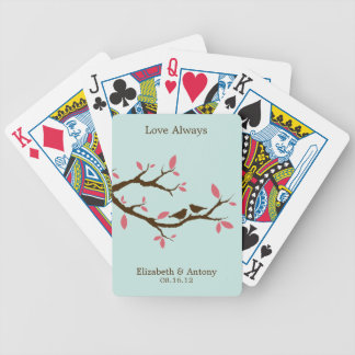 Love Birds on Tree Wedding Bicycle Playing Cards
