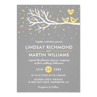 Love Birds on Tree Wedding Invitation  Yellow Gray