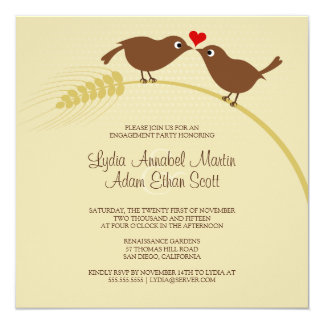Love Birds On Wheat - Engagement Party - Square 5.25x5.25 Square Paper Invitation Card