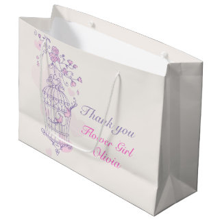 Love birds open birdcage wedding gift bag