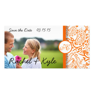 Love Birds Orange Damask Save the Date Card