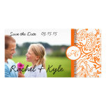Love Birds Orange Damask Save the Date Photo Greeting Card