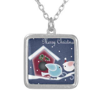 Love Birds Our First Christmas Long Distance Silver Plated Necklace