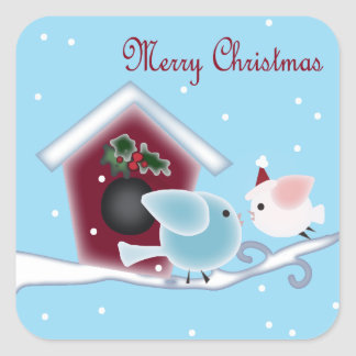 Love Birds Our First Christmas together Square Sticker