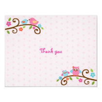 Love Birds Owl Flat Thank You Note Cards