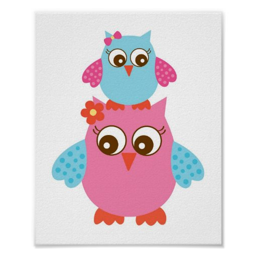 Love Birds Owl Nursery Wall Print