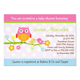 Love Birds & Owl on Branch Baby Shower Invitation