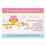 "Love Birds & Owl on Branch Baby Shower Invitation 5"" X 7"" Invitation Card"