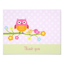 Love Birds & Owl on Branch Thank You Card