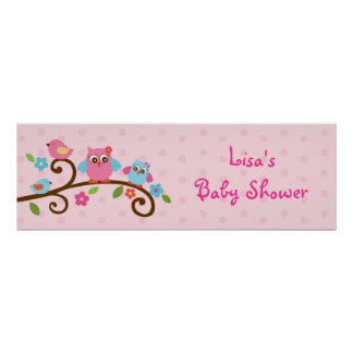 Love Birds Owl Personalized Banner Sign Poster