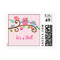 Love Birds Owl Personalized Postage Stamps