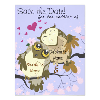 Love Birds Owl Wedding Invites