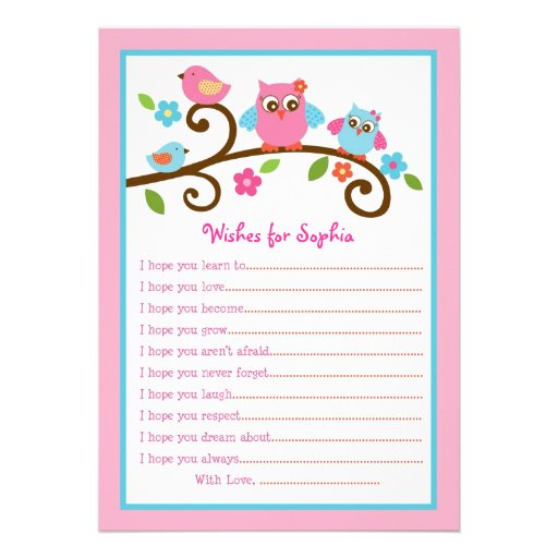 Love Birds Owl Wishes for Baby Card