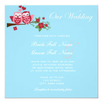 love birds owls wedding invitations