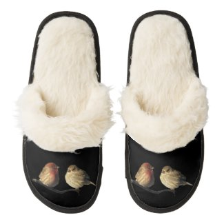 Love Birds Pair of Fuzzy Slippers