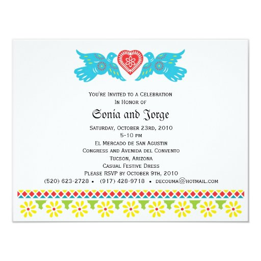 "Love Birds Papel Picado Banner Invitation 4.25"" X 5.5"" Invitation Card"