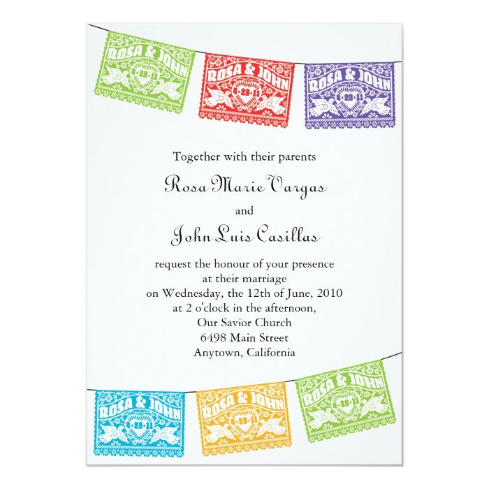 Together With Their Parents Wedding Invitation: Love Birds Papel Picado Banners Wedding Invitation