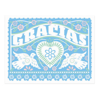 Love Birds Papel Picado Thank You postcard