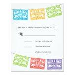 "Love Birds Papel Picado Wedding Banners RSVP 4.25"" X 5.5"" Invitation Card"