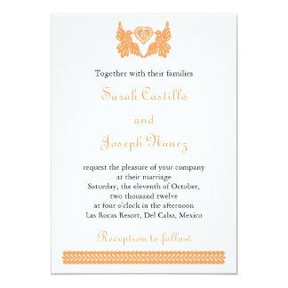 Love birds Papel Picado wedding invitation