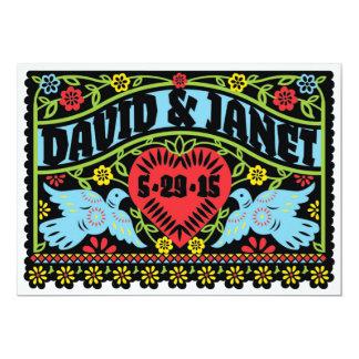 "Love Birds Papel Picado Wedding Invitation 5"" X 7"" Invitation Card"
