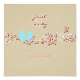 Love birds pink blossoms/beige card