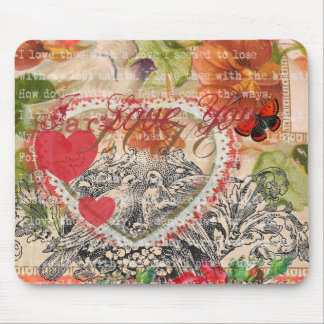 Love Birds Pink Heart Mouse Pad