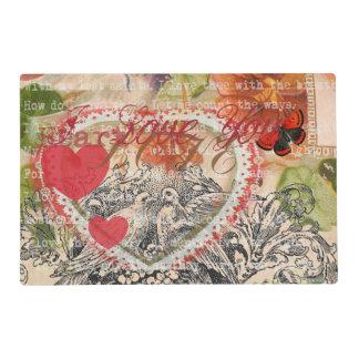 Love Birds Pink Heart Placemat