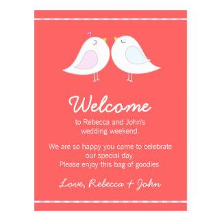 Love Birds Pink Wedding Welcome Card