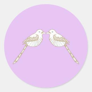 Love Birds Purple/Lavender Wedding Envelope Seal Classic Round Sticker