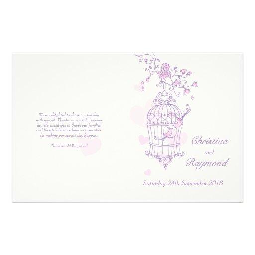 Love birds purple pink Wedding Programme Flyer