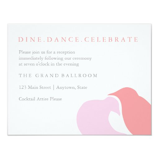 Love Birds - Reception Note Card Custom Invitation