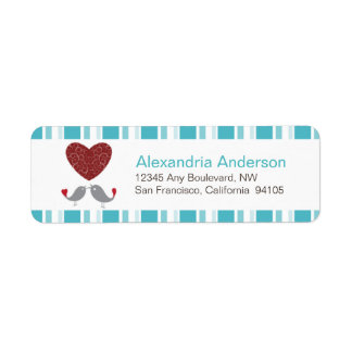 Love Birds Return Address Labels (aqua)