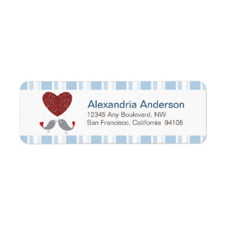 Love Birds Return Address Labels (baby blue)