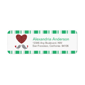 Love Birds Return Address Labels (green)