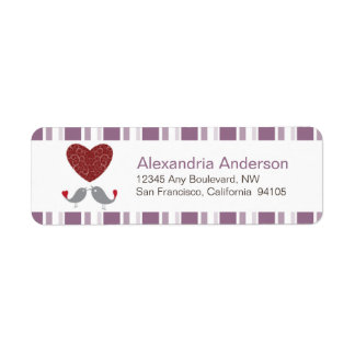 Love Birds Return Address Labels (lavender)