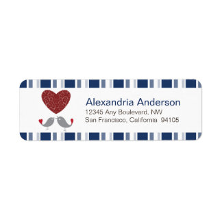 Love Birds Return Address Labels (navy)